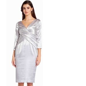adrianna Papell Satin Twist-Front Cocktail Dress